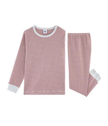 Jongenspyjama van gebreide stof rood Carmin / wit Marshmallow