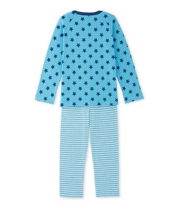 Jongenspyjama in tubic met print/strepen blauw Ibiza / blauw Major