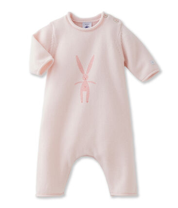 Lang uniseks babypakje in tricot van wol en katoen met konijntje roze Fleur