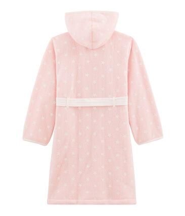 Kinderkamerjas van fleece roze Minois / wit Marshmallow