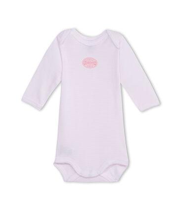 Babybody met lange mouwen en milleraies-strepen voor meisjes roze Vienne / wit Ecume