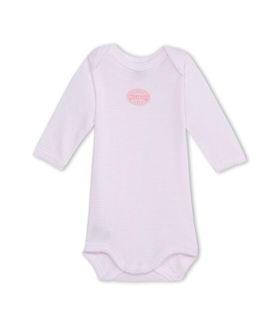 Body bébé fille manches longues à milleraies rose Vienne / blanc Ecume