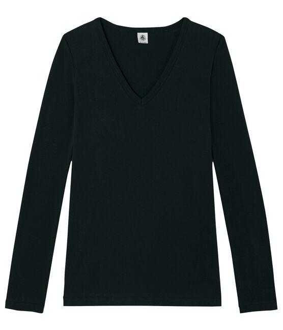 Tee shirt manches longues iconique femme noir Noir