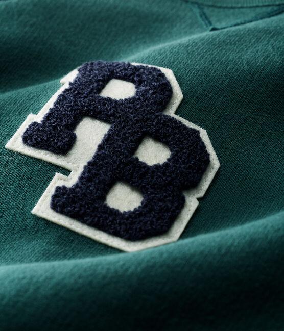 Lang babypakje van molton babyjongen groen Sousbois / blauw Smoking