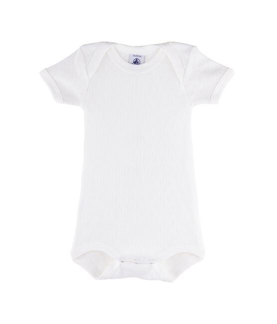 Rompertje met korte mouwen babymeisje - babyjongen wit Ecume