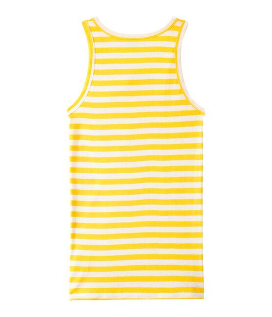 Gestreept dameshemdje in origineel geribd katoen geel Shine / wit Marshmallow