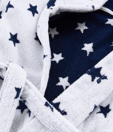 Jongensbadjas van badstof wit Marshmallow / blauw Medieval