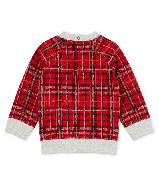 Sweatshirt bébé garçon en maille à carreaux rouge Terkuit / blanc Multico