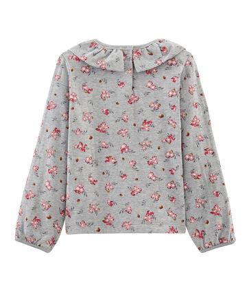 T-shirt lange mouwen meisjes grijs Beluga / wit Multico