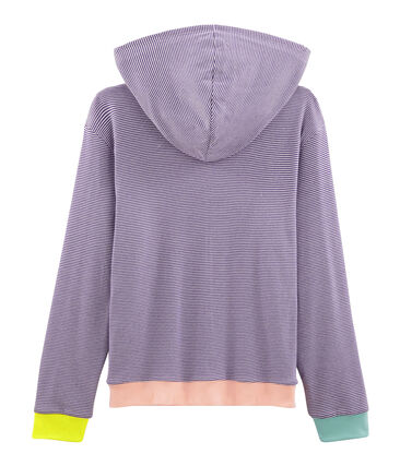 Damessweater met capuchon purper Real / wit Marshmallow