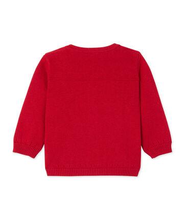 Cardigan bébé fille en laine et coton rouge Froufrou