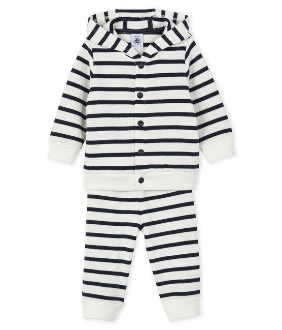 Set Sweatshirt and leggings voor baby wit Marshmallow / blauw Smoking