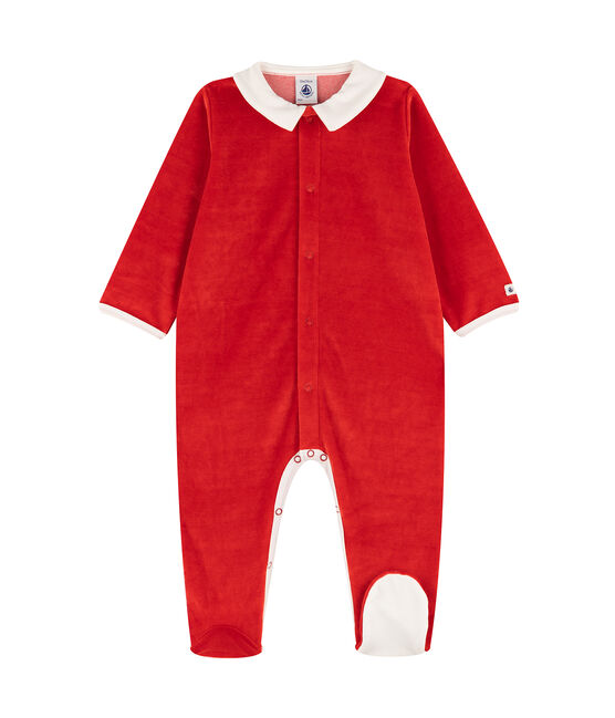 Fluwelen slaappakje met kraag baby rood Terkuit