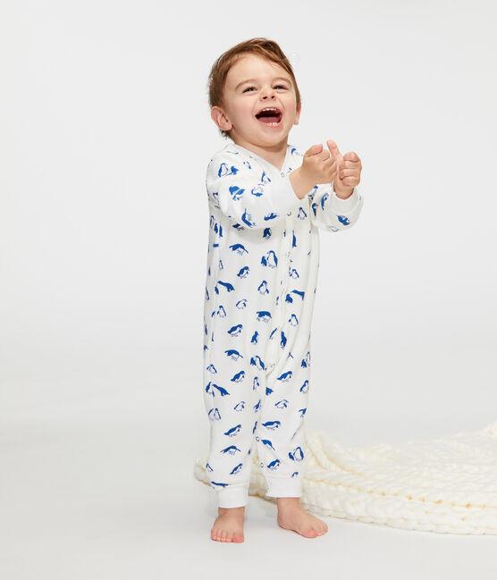 Nachtset baby van extra warme geruwde bouclébadstof wit Marshmallow / blauw Major