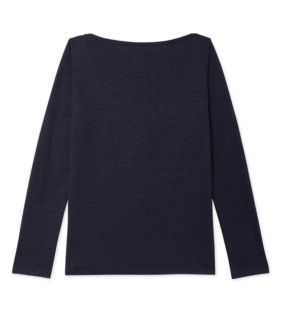 T-shirt femme manches longues en lin laqué bleu Smoking / bleu Brillant