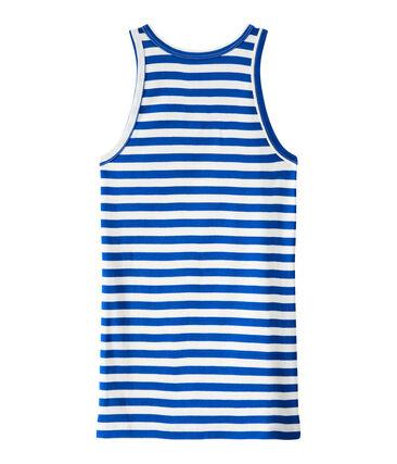 Gestreept dameshemdje in origineel geribd katoen blauw Perse / wit Marshmallow