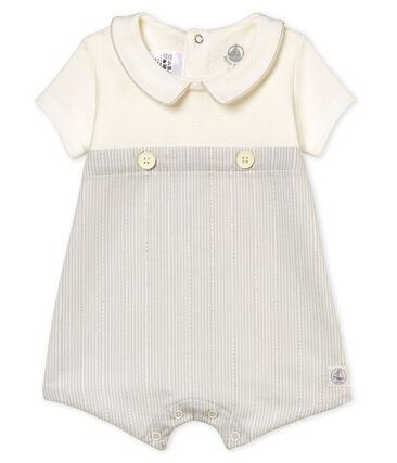 Korte playsuit voor babyjongens wit Marshmallow / beige Perlin