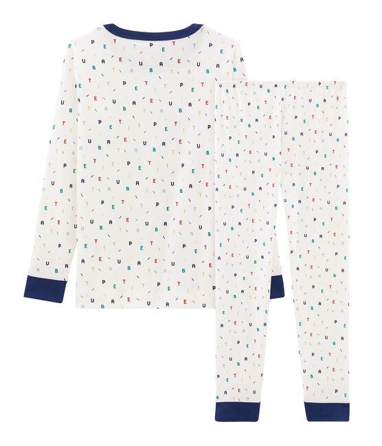 Pyjama petit garçon coupe très ajustée en côte blanc Marshmallow / blanc Multico