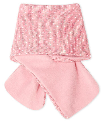 Babysjaal met fleece voering roze Charme / wit Marshmallow
