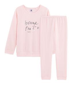 Pyjama meisje van extra warme geruwde bouclébadstof roze Minois