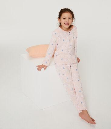 Meisjespyjama van molton roze Minois / wit Multico