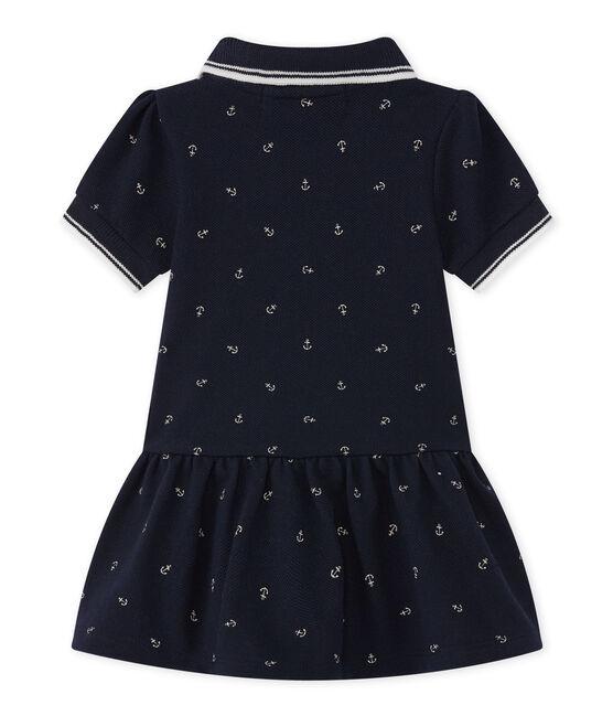 Baby meisje jurk blauw Smoking / wit Feta