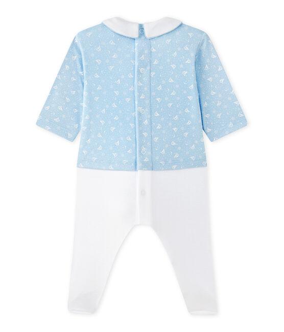 Hemdoverall uit twee stoffen voor babyjongens blauw Toudou / wit Ecume