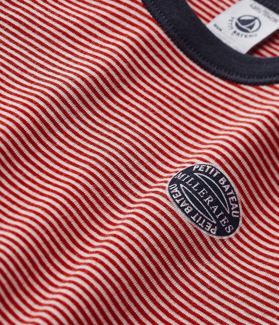 Pyjama garçon milleraies rouge Froufrou / beige Coquille