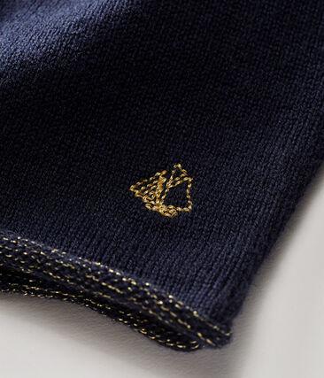 Cardigan essentiel bébé fille en tricot laine et coton bleu Smoking