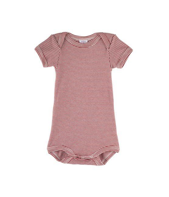 Body manches courtes bébé garçon rouge Carmin / blanc Marshmallow