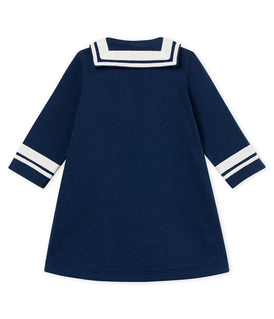 Robe manches longues col vareuse bébé fille bleu Haddock