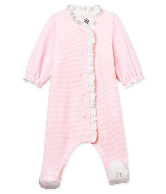 Bodyjama van velours met fijne streepjes voor babymeisje roze Pearl / wit Multico