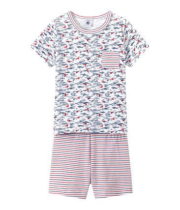 Korte jongenspyjama met dessin en strepen wit Ecume / blauw Smoking