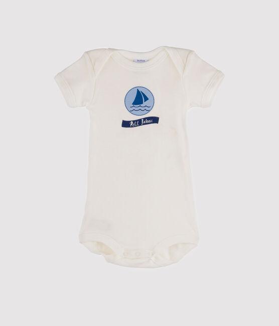 Rompertje met korte mouwen babyjongen wit Marshmallow / blauw Jasmin