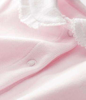 Effen pyjama in katoenfluweel voor babymeisjes roze Vienne
