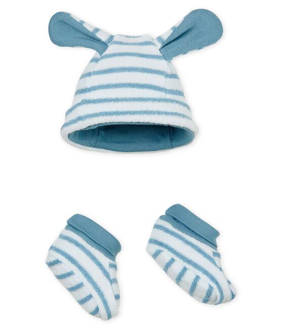 Uniseks muts met pantoffels met strepen voor baby set .