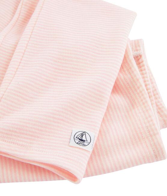 Legging kind van wol en katoen roze Charme / wit Marshmallow