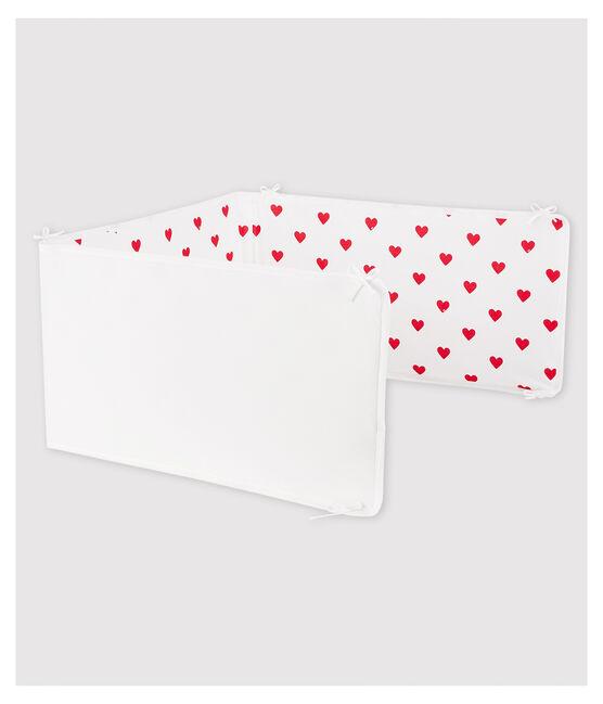 Tour de lit cœur rouge bébé en côte blanc Marshmallow / rouge Terkuit