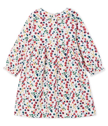 Jurk met lange mouwen en print babymeisje wit Marshmallow / wit Multico