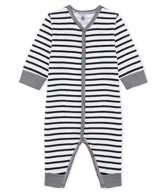 Slaappakje zonder voetjes van tubic babyjongen wit Marshmallow / blauw Smoking