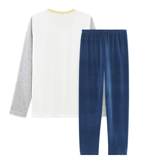 Fluwelen jongenspyjama blauw Medieval / grijs Poussiere