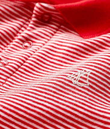 Body polo rayure milleraies bébé garçon rouge Terkuit / blanc Marshmallow