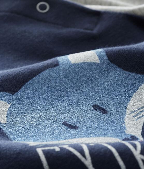 Tee shirt manches longues bébé garçon bleu Smoking / gris Beluga