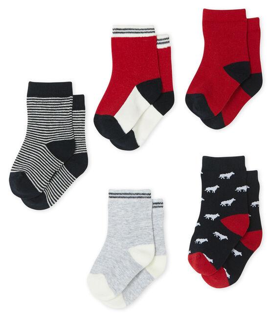 Lot de 5 paires de chaussettes bébé garçon bleu Smoking / blanc Multico