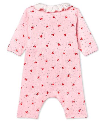 Bodyjama zonder voetjes voor babymeisje van 1x1 ribstof met print roze Vienne / wit Multico