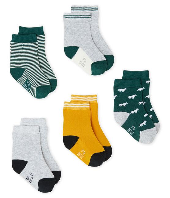 Lot de 5 paires de chaussettes bébé garçon vert Sousbois / blanc Multico