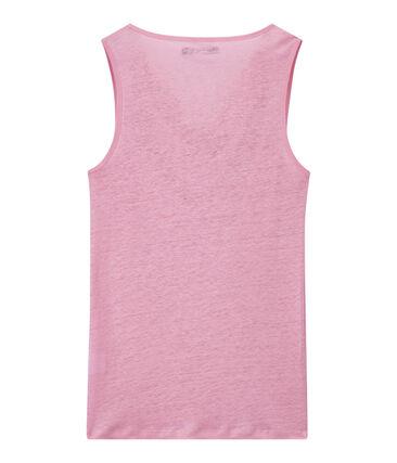 Linnen damestop met iriserend effect roze Babylone / grijs Argent