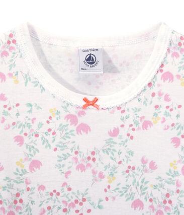 Meisjesnachthemd met lange mouwen en dessin wit Ecume / wit Multico