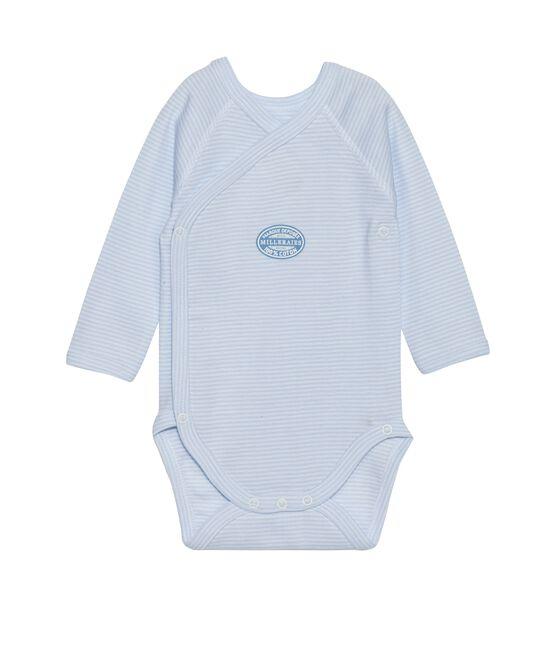 Body naissance garçon manches longues à milleraies bleu Fraicheur / blanc Ecume