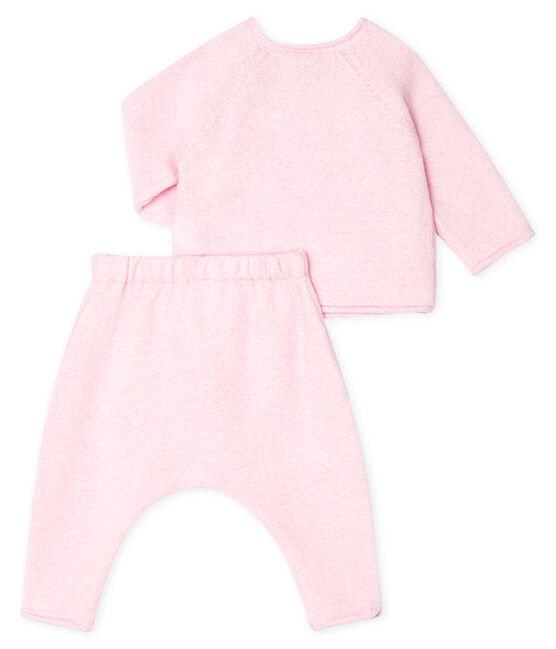 Ensemble deux pièces bébé en coton, laine mérinos et polyester FLEUR